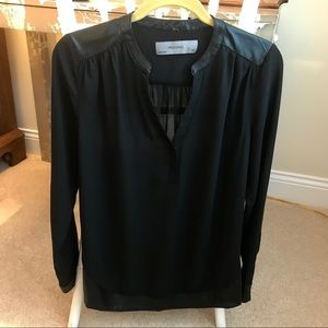 Sheer Wells Grace Top with Faux Leather Trim